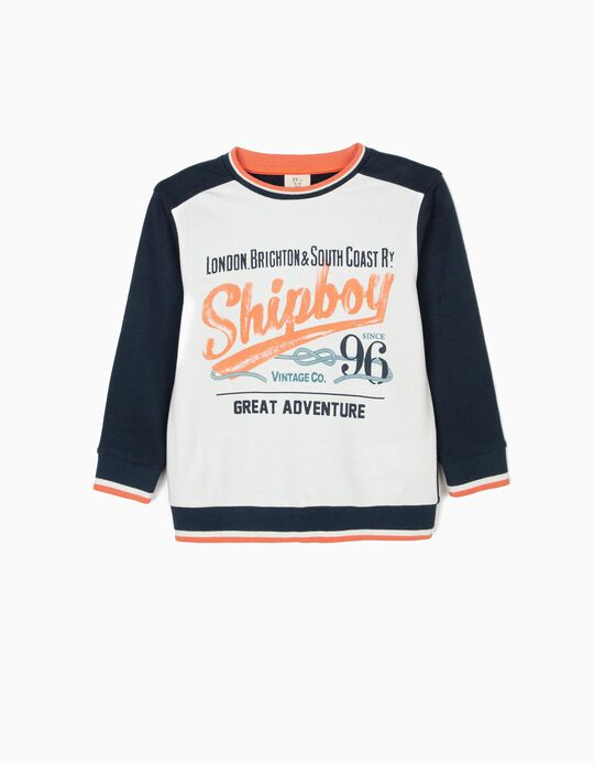Sweatshirt para Menino 'Vintage Train', Azul Escuro e Branco