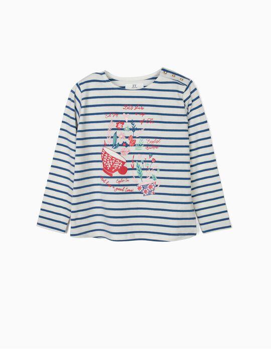 T-shirt Manga Comprida para Menina 'Tea' Riscas, Branco e Azul