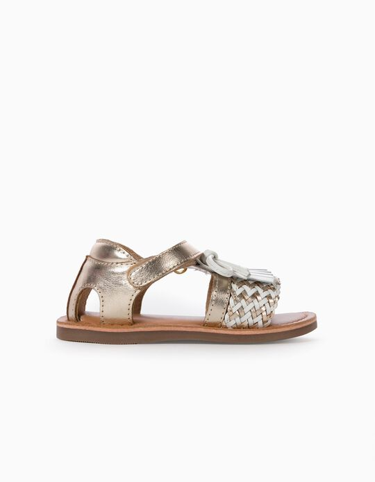 Leather Sandals with Fringes for Baby Girls, Golden/White