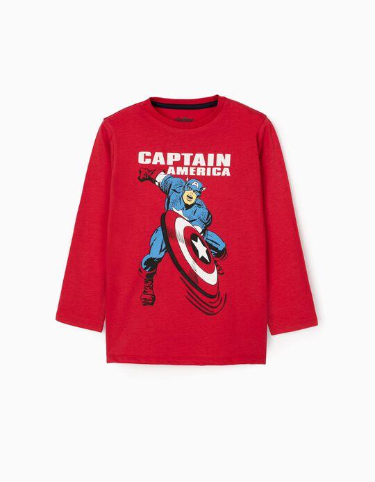 T-Shirt Manches Longues Garçon 'Captain America', Rouge