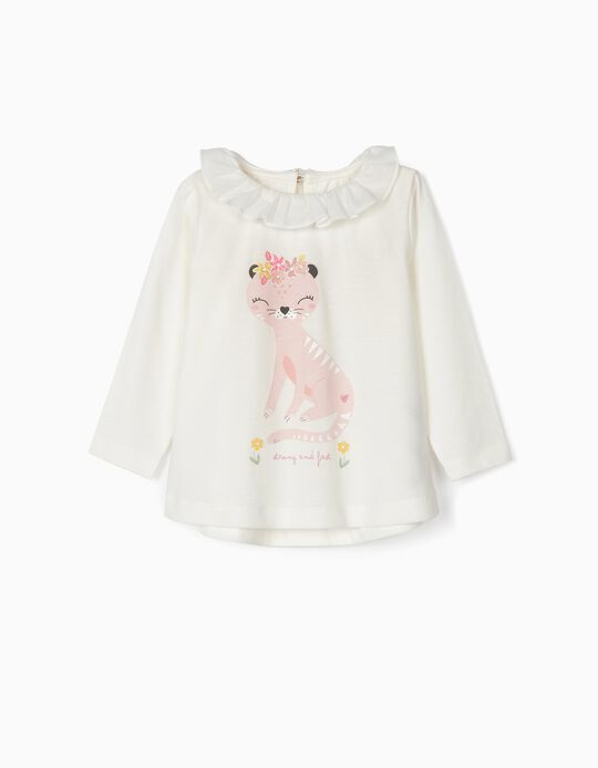 Camiseta de Manga Larga para Bebé Niña 'Strong and Fast', Blanca