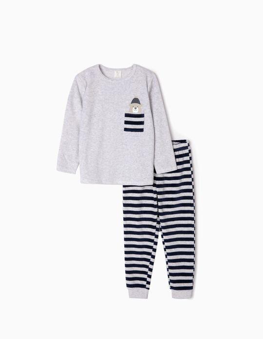 Pijama Aterciopelado para Niño 'Cute Bear', Gris/Azul Oscuro