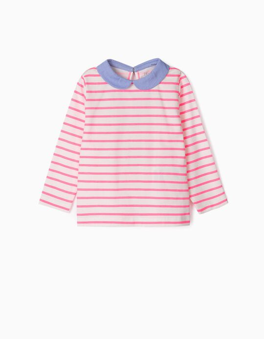 Long Sleeve Top for Baby Girls 'Stripes', Pink/White