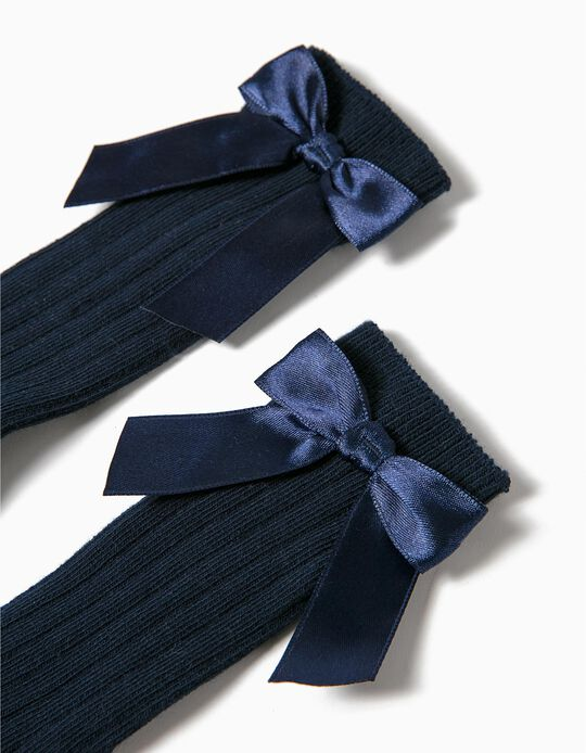 Knee-High Socks for Baby Girls with Bow, Dark Blue