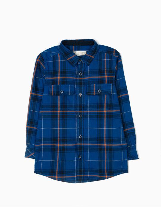 Camisa Ajedrez con Bolsillos Azul