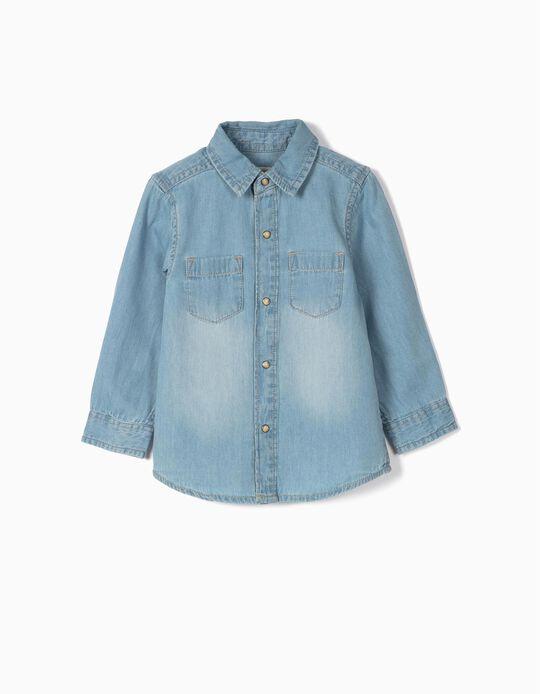 Camisa de Ganga para Bebé Menino, Azul Claro