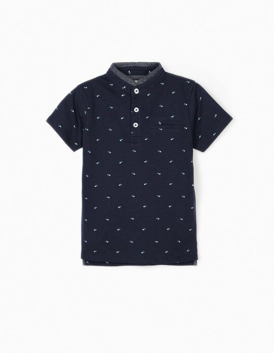 Polo Shirt with Mandarin Collar for Boys, Dark Blue