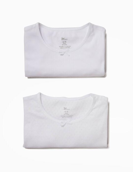 2 Camisetas Interiores para Niña, Blancas