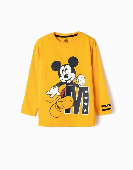 T-shirt Manga Comprida para Menino 'Mickey', Amarelo