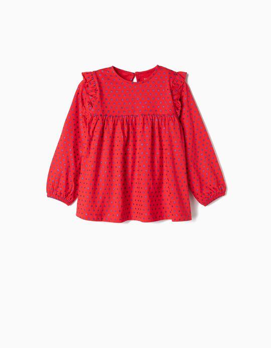 Camiseta de Manga Larga para Niña 'Lunares', Roja