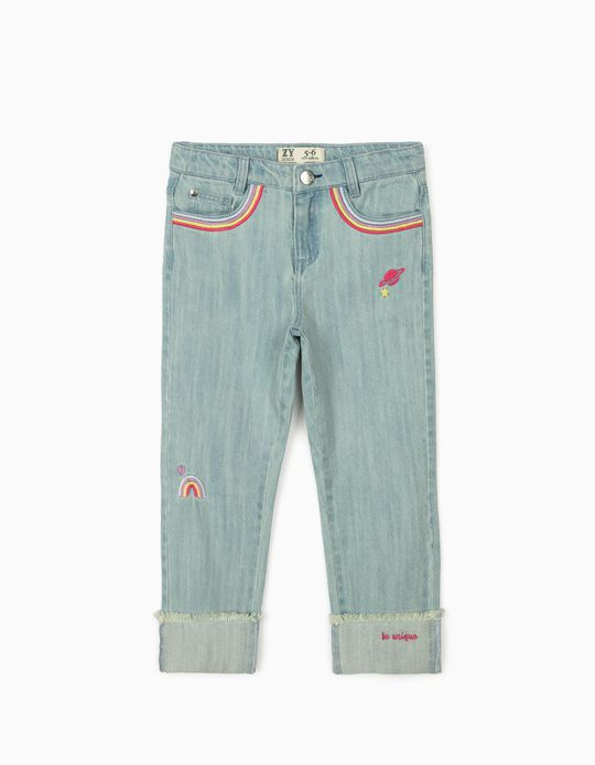 Denim Trousers for Girls 'Rainbow & Space', Light Blue