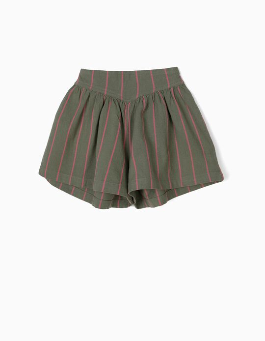 Striped Skort for Girls, Green and Pink