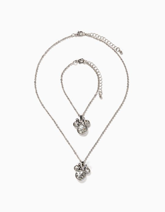 Necklace and Bracelet for Girls, 'Minnie Mouse', Silver