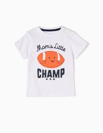 Camiseta Mom's Little Champ Blanca