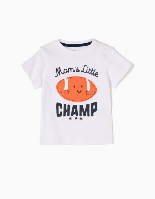 T-shirt Mom's Little Champ Branca