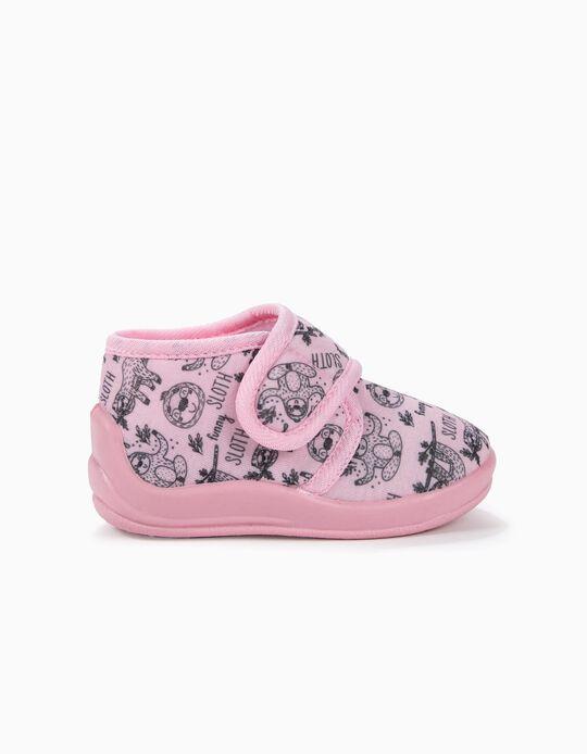Zapatillas de Casa para Bebé Niña 'Funny Sloth', Rosa
