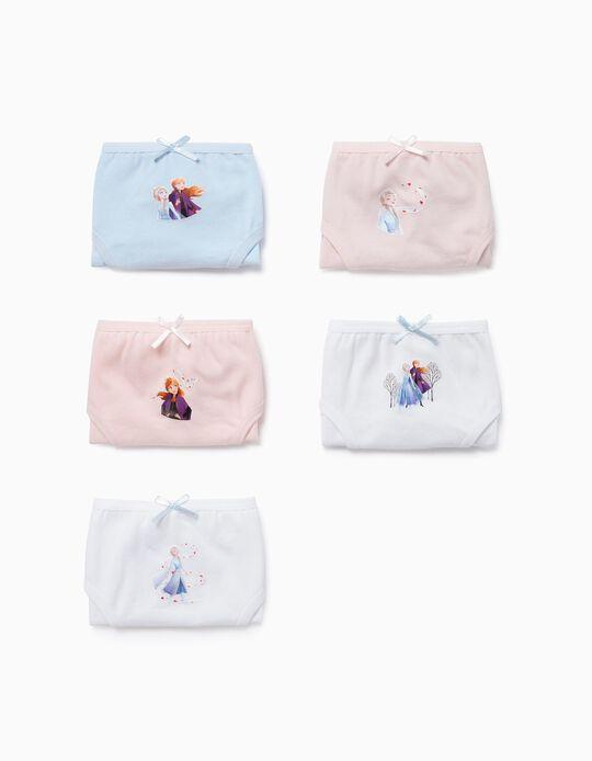 5 Briefs for Girls, 'Frozen II', White/Pink/Blue