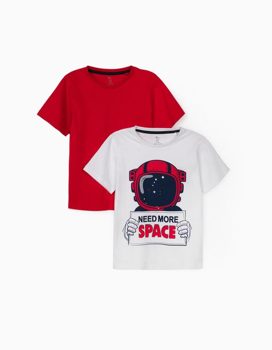 2 T-shirts garçon 'Need More Space', blanc/rouge