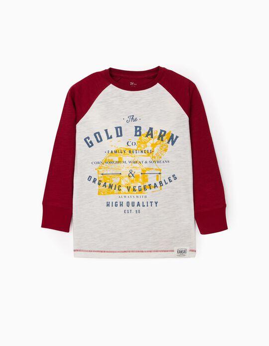 Camiseta de Manga Larga para Niño 'Gold Barn', Blanco/Burdeos