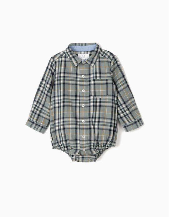 Body Camisa Ajedrez para Recién Nacido, Azul
