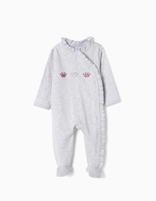 Babygrow para Recém-Nascida 'Crowns', Branco e Cinza