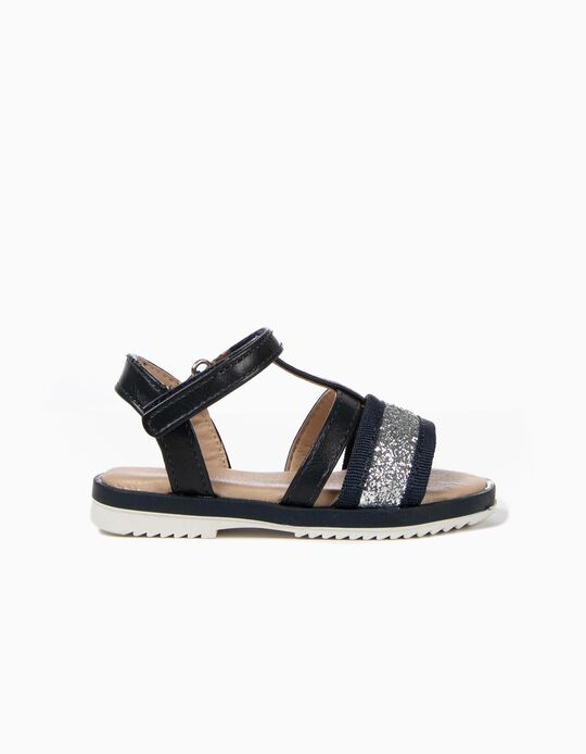 Sandals with Glitter for Baby Girls, Dark Blue