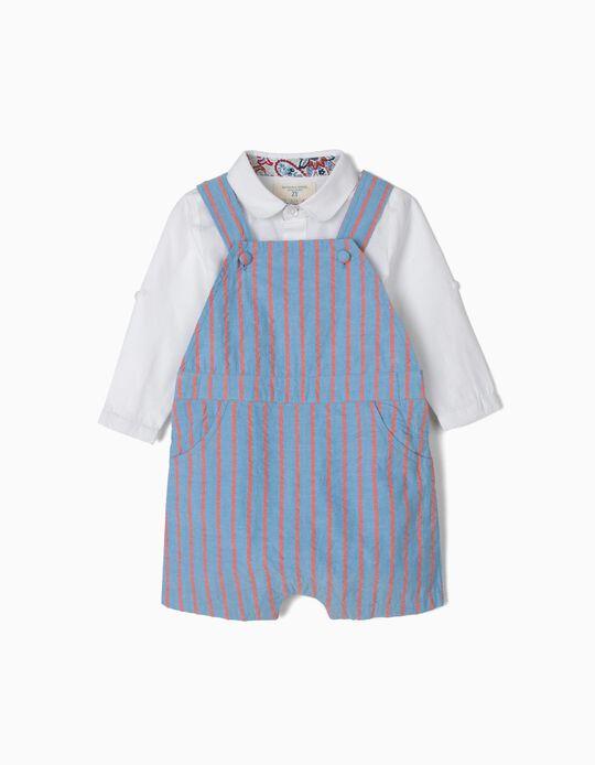 Macacão e Body Camisa para Recém-Nascido 'B&S', Azul e Branco