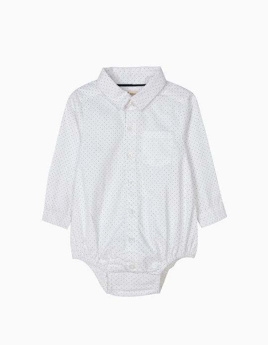 Body-Camisa Blanco de Lunares