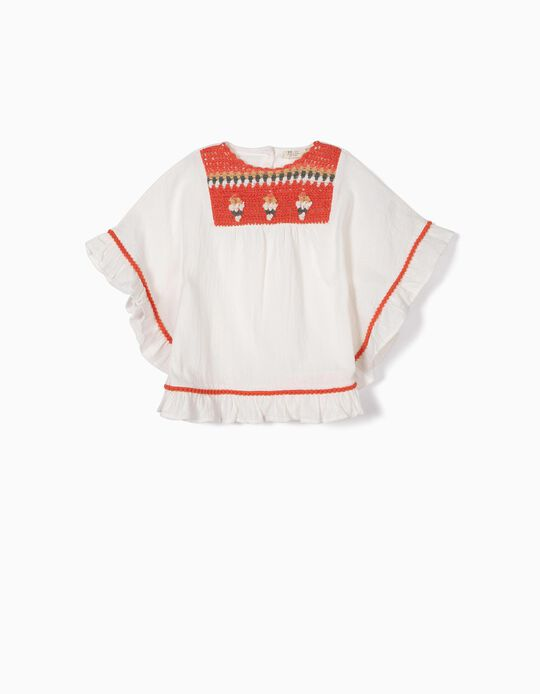 Poncho Blouse for Girls with Crochet, White