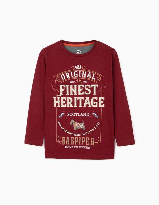 Long Sleeve T-Shirt for Boys 'Scotland', Burgundy