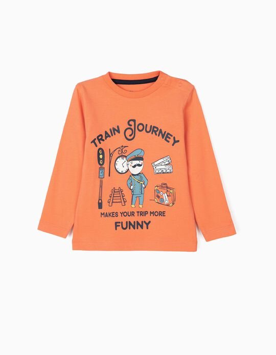 Camiseta de Manga Larga para Bebé Niño 'Train Journey', Naranja