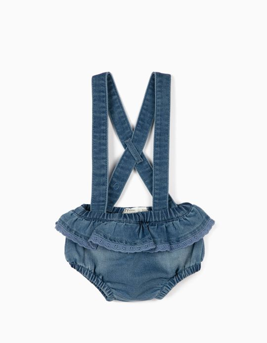Short con Tirantes para Recién Nacida 'Comfort Denim', Azul