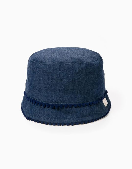 Denim Hat for Girls with Pom-poms, Blue