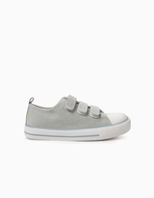 Zapatillas Infantiles '50's Sneaker' Brillo con Cierre Auotadherente, Azul Claro