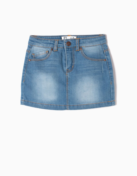 Denim Skirt for Girls, Light Blue