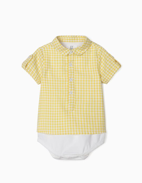 Gingham Plaid Shirt Bodysuit for Newborn Baby Boys, Yellow/White