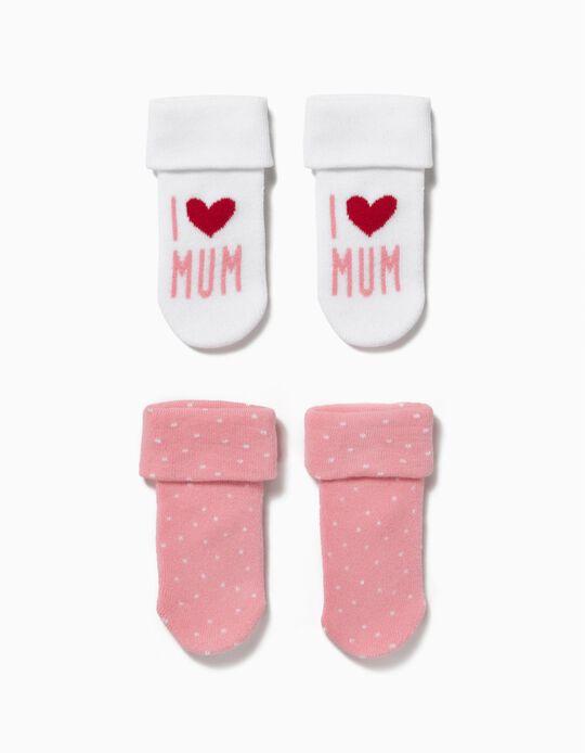 Pack 2 Calcetines Mum Rosa y Blanco