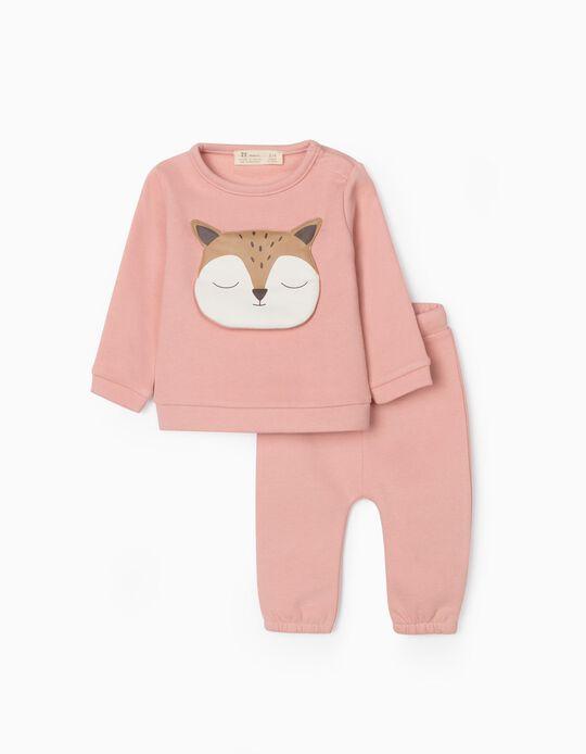 Fato de Treino para Recém-Nascida 'Cute Fox', Rosa