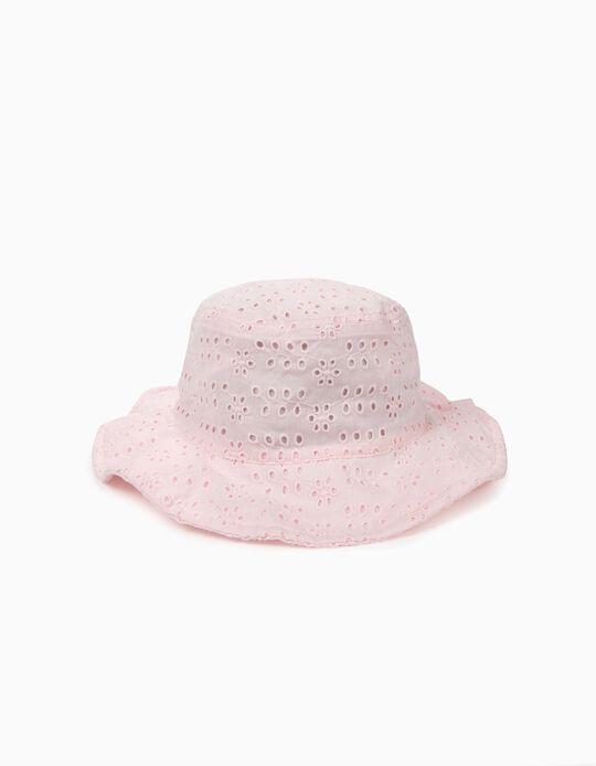 Sombrero para Niña con Bordado Inglés, Rosa