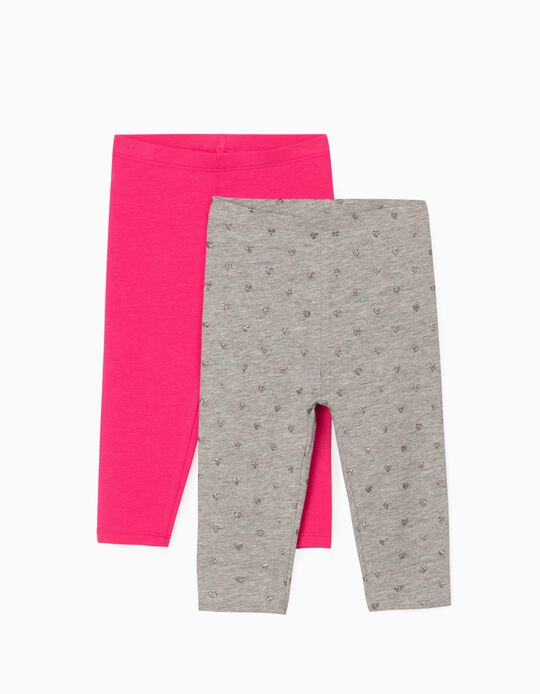 2 Pairs Leggings for Baby Girls, 'Hearts', Grey/Pink