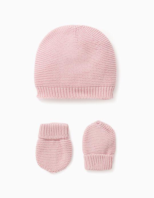 Gorro + Luvas de Malha para Bebé Menina, Rosa