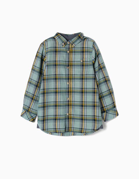 Camisa Xadrez para Menino 'B&S', Verde Água