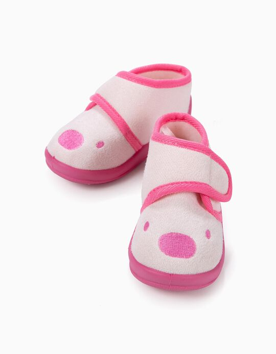 Chaussons Bébé Fille 'Teddy l'Ourson', Rose