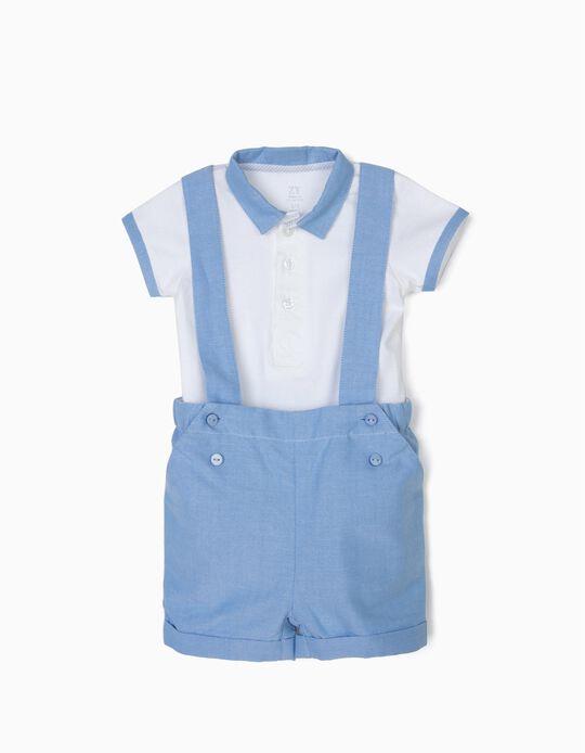 Body y Short para Recién Nacido, Azul y Blanco