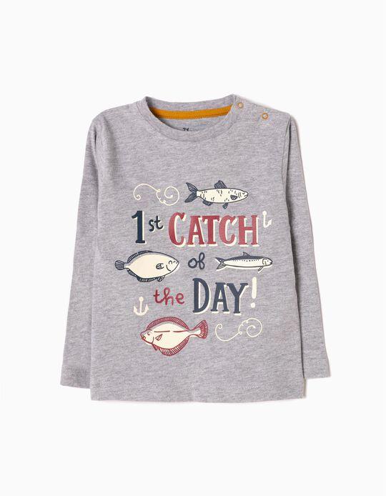 Camiseta de Manga Larga Fish Gris
