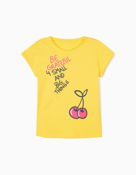 T-shirt for Girls 'Be Grateful', Yellow