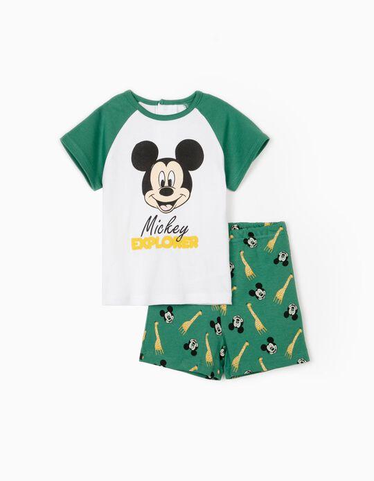 Pijama Manga Curta para Bebé Menino 'Mickey Explorer', Branco/Verde