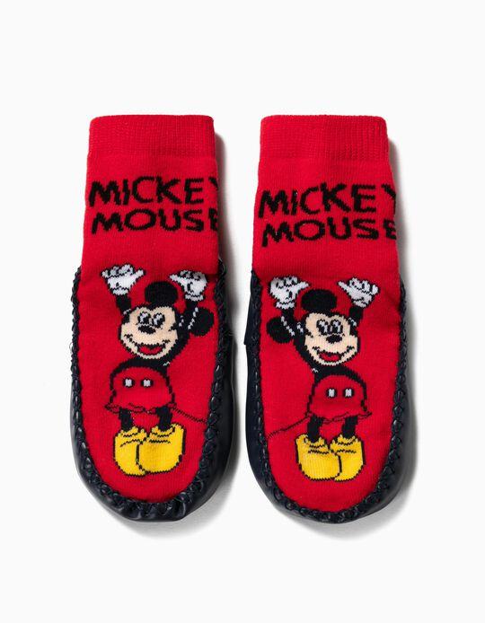 Calcetines Pantuflas Antideslizantes para Niño 'Mickey', Rojo