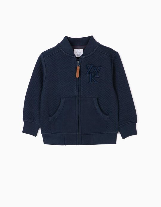 Textured Jacket for Baby Boys 'ZYK', Dark Blue