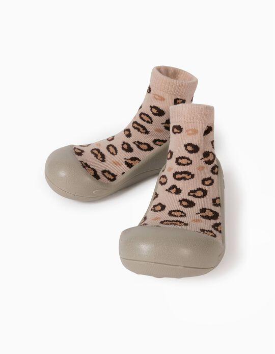 Non-Slip Slipper Socks for Babies 'Leopard', Brown